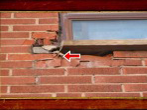 Spalled Brick at Window Area